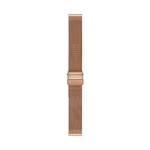 Fossil - Brazalete de Malla de Acero en Tono Dorado Rosa de 16 mm para Mujer, S161057