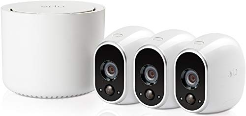 Arlo Wireless Home Security Camera System with Motion Detection, Night Vision, Indoor/Outdoor, HD Video, Wall Mount, Cloud Storage Included, 3 Camera Kit (VMS3330), White
