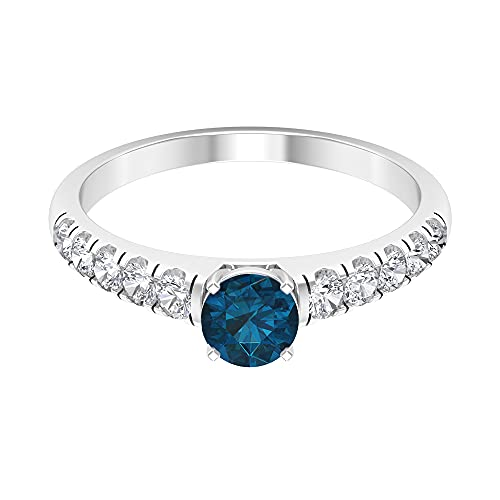 Anillo solitario de tanzanita de 1 ct con acento de diamante, anillo de piedra lateral (tanzanita de 5 mm de corte redondo), 14K Oro blanco, tanzanita, Size:EU 65