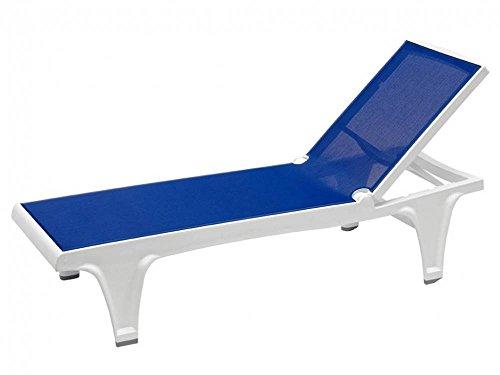 SCAB DESIGN - Chaise longue Lot de 2 bain de soleil Tahiti blanc -bleu