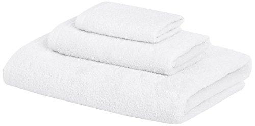 Amazon Basics Quick-Dry Towels - 100% Cotton, 3-Piece Set, White