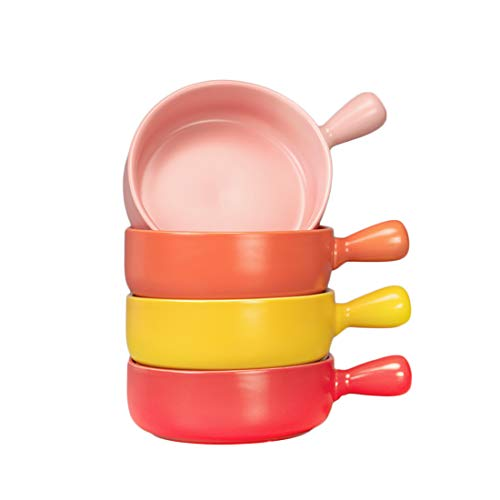 BonNoces 21 Oz Porcelain Soup Bowl, French Onion Bowl with Handle, Unique Matte Glazed Bowl Set for Soup, Salad, Chili, Cereal and Beef Stew, Set of 4 (Assorted Colors-02)