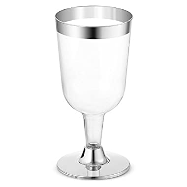 BloominGoods 50-Pack 7.5oz Wine Glass - Disposable Clear Plastic Cups - Party & Wedding – Silver Rimmed – Fancy Premium Heavy Duty