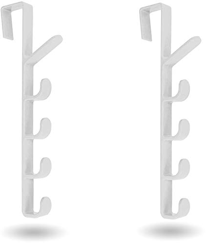 [Mighty Tidy Home] 2-Pack Over The Door Hook Hanger | 5-Hook Heavy-Duty Organizer Rack for Coats, Hats, Robes, Shirts, Belts, Bags, Towels, Closet and Bathroom (2-Pack in White)