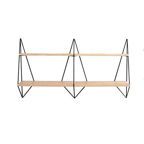 Schwimmender Wandrahmen Schmiedeeisen-Massivholz-Trennwand Zweischichtiges Multifunktionsregal (Color : Wood Color, Size : 120x20x70cm)