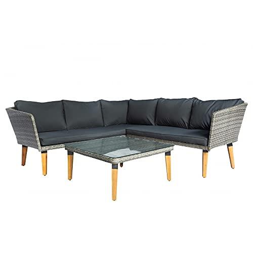 IZER Polyrattan Lounge Farbe dunkelgrau. Gartenmöbel Set für 4-5 Personen. Holzbeine, Gartenlounge Set mit Sofa, Tisch Polyrattan- dunkelgrau/Sitzbezüge in dunkelgrau