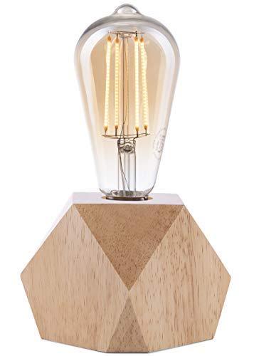 Lámpara Crown LED   Luz vintage alimentada por batería   Diseño Retro Industrial   Color: Roble claro   portátil liviano 19,5 x 9 x 9cm   incl. bombilla LED Retro Edison EL10