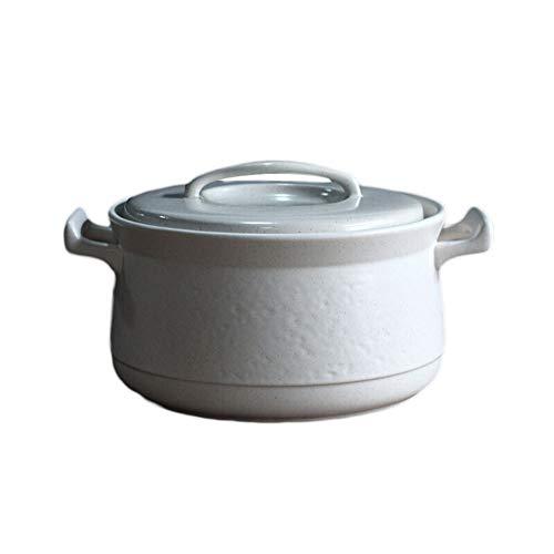 Cacerola de hierro fundido, cazuela de cerámica blanca refractaria con tapa, olla de piedra resistente al seco, estufa de gas, estufa eléctrica de cerámica, color blanco