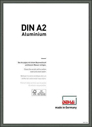 DEHA Aluminium Bilderrahmen Boston, 42x59,4 cm (A2), Contrastgrau