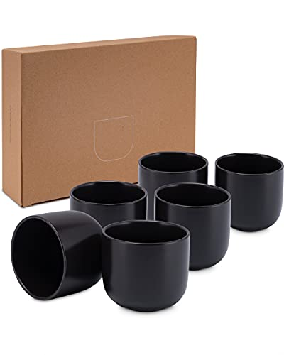 Lambda Coffee® Cappuccino Tassen Set 6 x 380ml in Schwarz matt aus Keramik | Milchkaffeetassen für Kaffee und Cappuccino | Mokkatassen rund und groß | auch für Espresso | Spülmaschinen geeignet