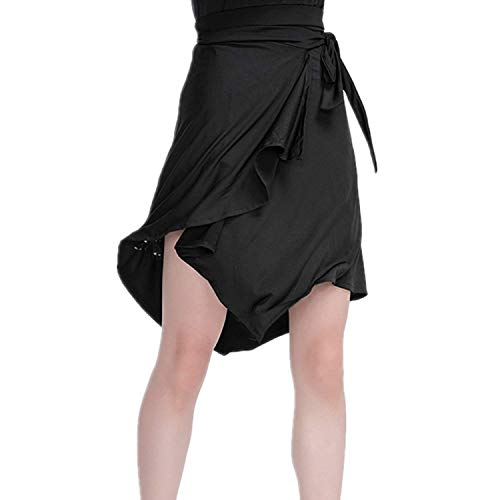 Jupes Femmes Danse Danse Simple Tango Style Latine Salsa De Jupe Robe Skate Wrap Vêtements De Danse Élégant Vintage À La Mode Irrégulier Asymétrique A-Line Jupe D'Été (Color : Noir, Size : XL)