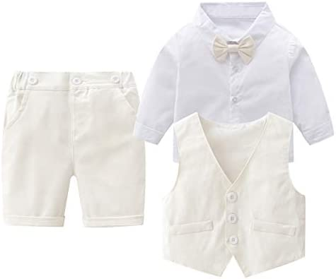 Baby Boys Gentleman Outfits Suits Infant Long Sleeve Shirt Cropped Pants Bow Tie Vest Clothes product image