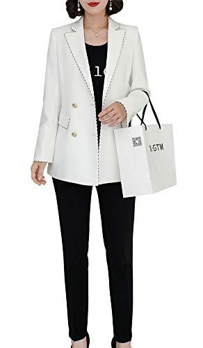 LISUEYNE dames tweedelig geknipt massief blazer pantsuits dubbel geborsteld Office Lady Suits manchet Split werk blazer broek