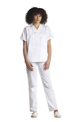 Tecno Hospital DIVISA OSPEDALIERA UNISEX, OSS, ESTETICA, INFERMIERE, casacca e pantalone, ALBERGHIERO, PERSONALE MEDICO, OPERATORE SANITARIO, OPERATORE SCOLASTICO BiS (BIANCO, S)