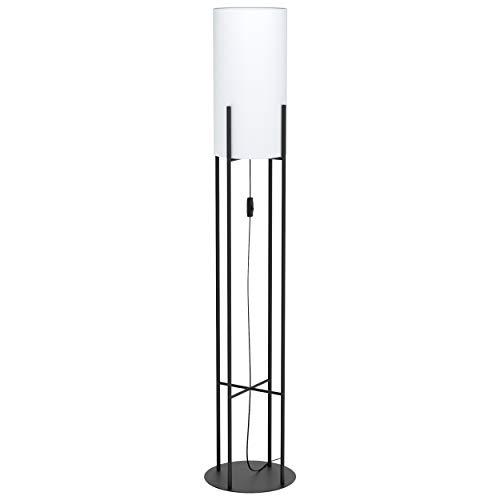 EGLO Stehlampe Glastonbury, 1 flammige Stehleuchte Modern, Standleuchte aus Stahl und Textil, Wohnzimmerlampe in schwarz, weiß , Lampe mit Schalter, E27 Fassung