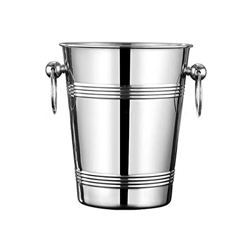 YXZN Cubo de Hielo/Champaña/Enfriador de Vino Acero Inoxidable con Asas Dobles Gran Capacidad Cocina Fiesta Bar Enfriador de Bebidas Champagne Vino Cubo de Hielo Plateado