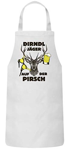 ShirtStreet Gaudi Wiesn Bier Party Frauen Herren Barbecue Baumwoll Grillschürze Kochschürze Oktoberfest Dirndl Jäger, Größe: OneSize,Weiß