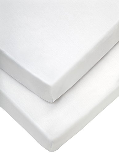 Mamas & Papas Classic Travel Cot Fitted Sheets (65 x 95 cm, White, Pack of 2), Nursery Bedding