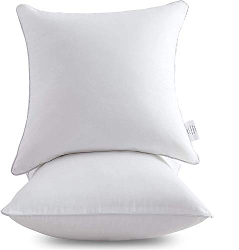 Leeden 16 x 16 Pillow Inserts (Set of 2) - Throw Pillow Inserts with 100% Cotton Cover - 16 Inch, Square