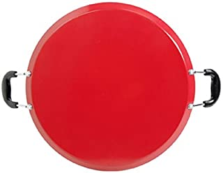 "Oster Cocina Zadora 14"" Comal Round Carbon Steel with Bakelite Handles, Red"