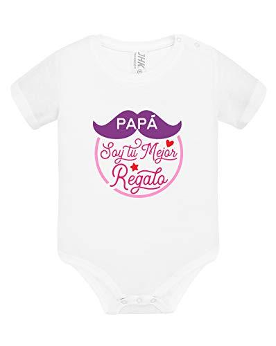 Los Eventos de la Tata. Body de Bebe para Regalar a Papá (6-9 Meses, Modelo Rosa)