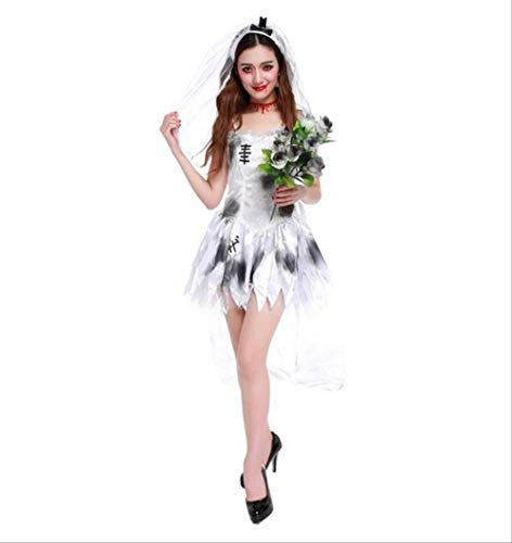 CHNWSJ Halloween Kostüme Braut-Bräutigam-Idee Paare Kostüm erwachsenes Abendkleid Walking Dead Zombie XL Blau