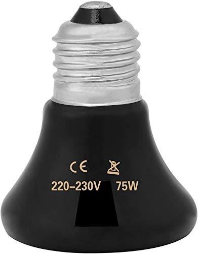 50-100W Emisor de cerámica infrarrojo Luz de Calor Mascota criadora Reptil Calentador Lámpara Bombilla para lagartos Tortuga Pollo Anfibio Aves de Corral(75w)