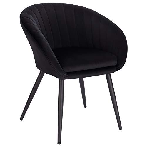 WOLTU Esszimmerstühle BH244sz-1 1 Stück Wohnzimmerstuhl Küchenstuhl Polsterstuhl Sessel mit Armlehne, mit Rückenlehne, Sitzfläche aus Samt, Beine aus Metall, Schwarz