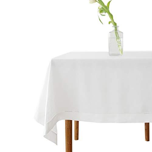 Mantel Rectángulo Blanco Impermeable y Lavable a máquina con Efecto de Lino, decoración para Comedor, Cocina, Sala de Estar y jardín - 182cm x228cm