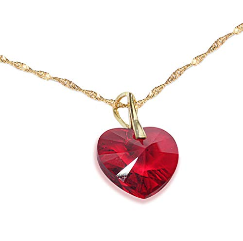 18MM Heart Ruby Red Siam Genuine Crystal Necklace. Vermeil Gold Over Sterling Silver 45cm / 18'' Twisted Chain Included. Gorgeous Must Have! Stamped 925. Outstanding!