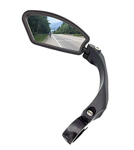 ''Cyber Monday Deal'' Hafny Handlebar Bike Mirror, Stainless Steel Mirror, Safe Rearview Mirror,HF-MR080 (Black Left Side)