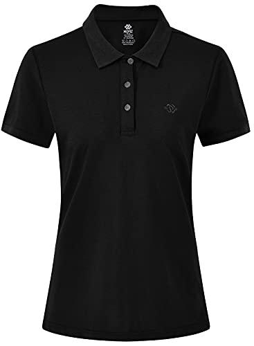 AjezMax Damen Kurzarm Golf T-Shirt Polohemd Pullover Schnelltrocknend Klassisch Sommershirt Schwarz Größe Small