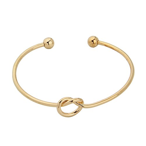 ZUOBAO Simple Love Knot Bracelet Tie The Knot Cuff Bangle (Gold)