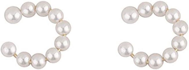 TONGUO Women Girl Korea Little C Cubic Pearl Fashion Jewelry Simple Minimalist Earrings Cartilage Clip Ear Cuff Ear Clip