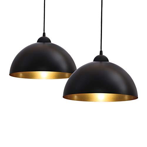 Dkdnjsk 2 Luz Industrial LED Vintage LED Diámetro Luz de Luz 30 cm para Bombillas E27, Diseño Moderno Retro Redondo Colgante Luz Araña Blanco y Negro, para Sala, Comedor, Restaurante, Bodega, Sótano,