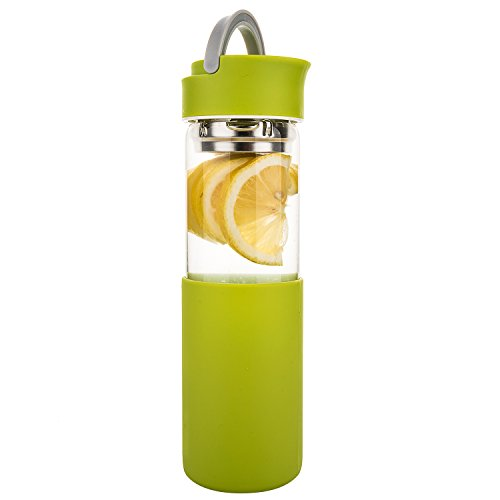 Life4u Trinkflasche Glas,Borosilikatglas Wasser Flasche mit Silikon Sleeve & Abnehmbare Sieb, 510 ml,Apfelgrün