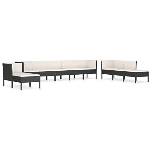 Tidyard Conjuntos Sofa Exterior 6# Set de Muebles de jardín 10 pzas Cojines ratán sintético Negro
