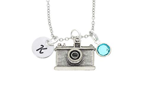 Personalized Camera Necklace - Custom Initial,...