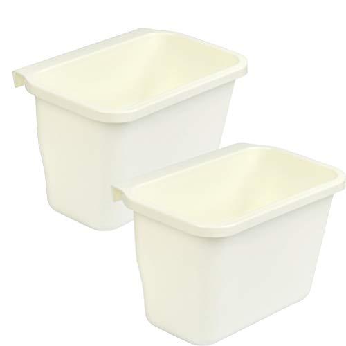 """""""N/A"""" 2 Stück Auffangschale für Küchenabfälle, Abfallsammler zum Einhängen, 21x13.5 x17cm, Abfallbehälter in Weiß"""