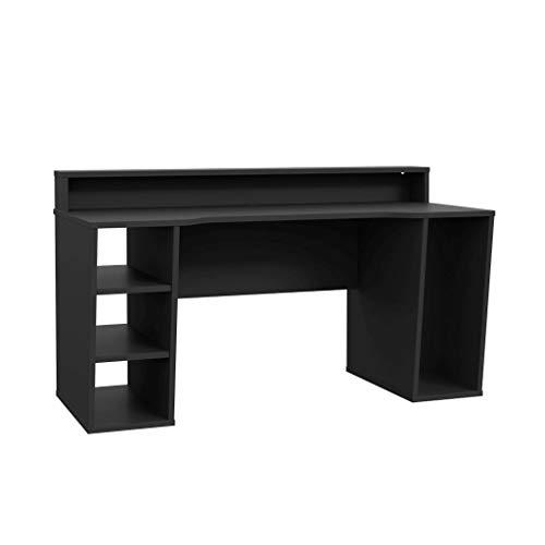 Computertisch TEZAUR 1 Gaming Tisch Schwarz von Forte