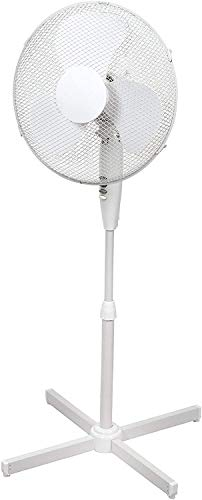 Standventilator 40 cm Durchmesser weiß-oszillierend + 3 Geschwindigkeiten einstellbare Höhe Verstellbarer Neigungswinkel 40 x 14 x 125 cm