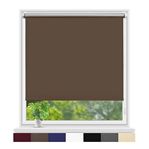 Eurohome Estor térmico opaco 65 x 210 cm (ancho de la tela 61 cm), color topo fijación sin agujeros para ventanas y puertas