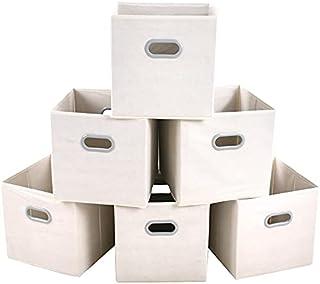 Marque Amazon – Umi Lot de 4 boîtes de rangement pliables en tissu avec deux poignées en plastique renforcé pour la maiso...