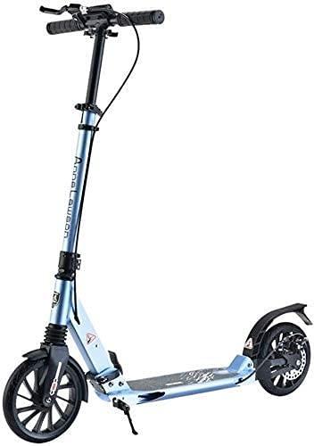 monopatín Patinete Scooters de patear para Adolescentes/Adultos | Scooter de Empuje Ajustable con Ruedas Grandes y Frenos de Mano de Disco, 100 kg de Capacidad de Peso (Color : Blue)