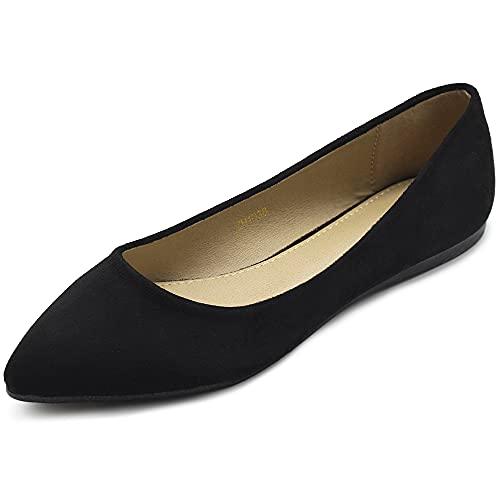 Ollio Womens Ballet Comforts Light Faux Suede Multi Color Shoes Flat ZM1038 (7.5 B(M) US  Black)