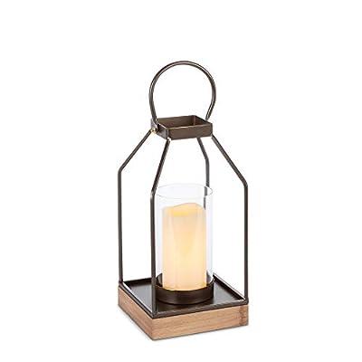 "Gerson 13""H Metal Lantern Home Decor 4.92InL x 4.92InW x 14InH Gold"