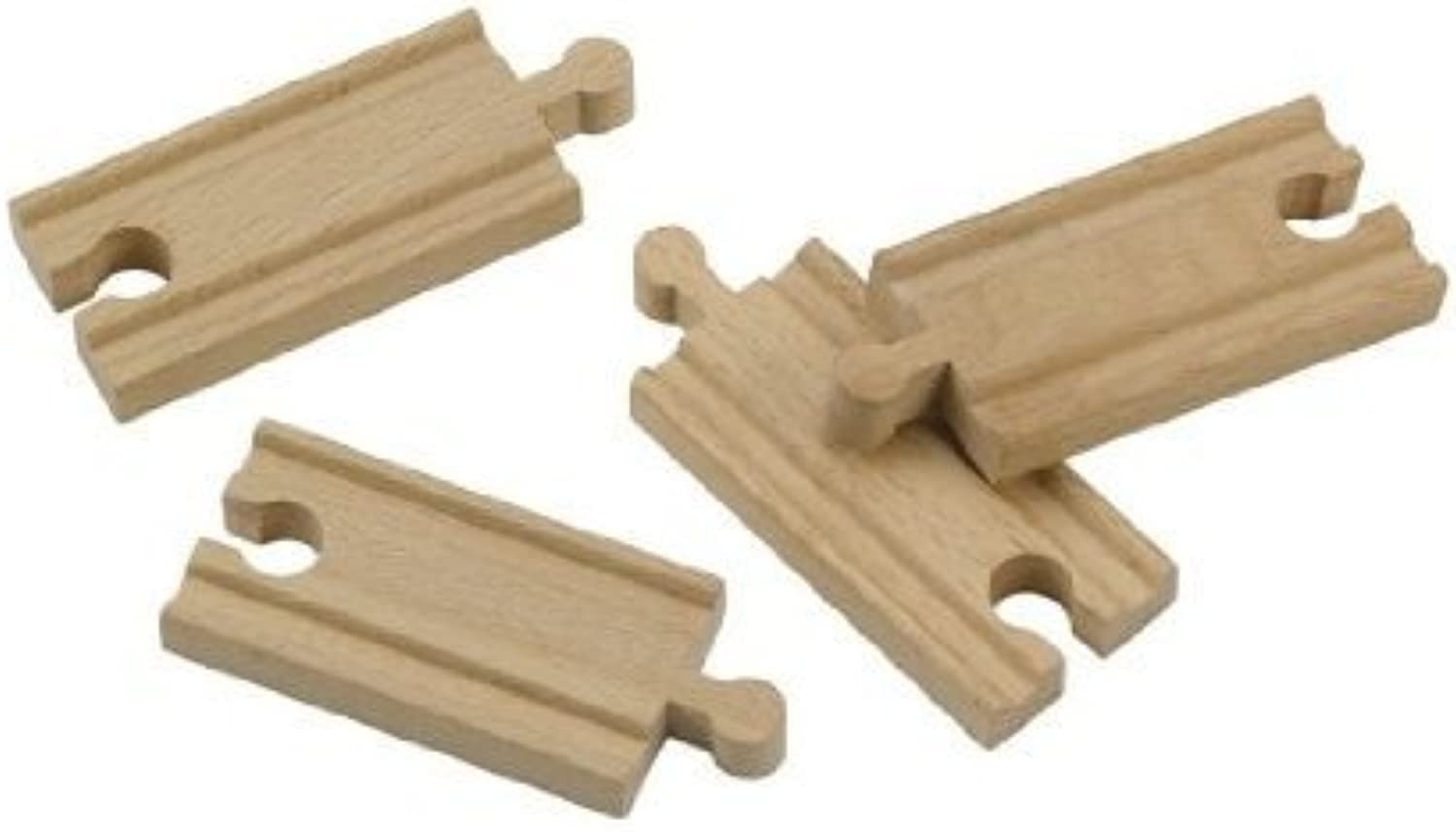 Wooden 9.6cm Straight Train Tracks; wooden railway compatible by Tidlo
