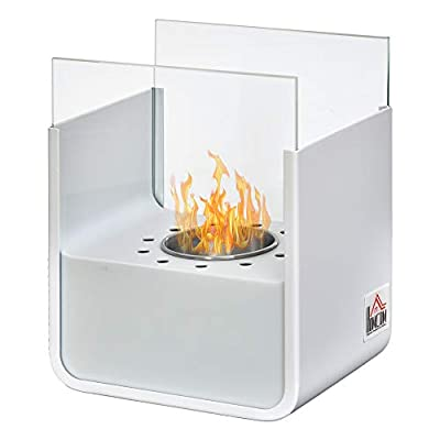 """HOMCOM Portable Tabletop Ventless Ethanol Fireplace Indoor Outdoor Fire Pit, 7.75"""" x 6'', White"""
