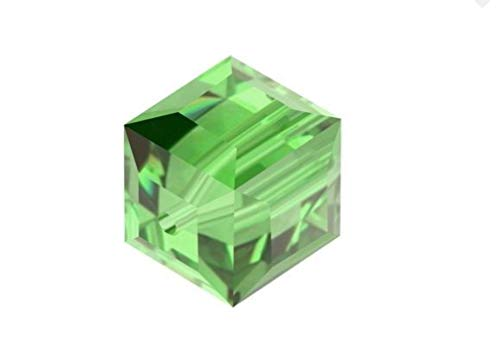 25pcs Swarovski 8mm #5601 Cube Peridot Green Crystal beads for Jewelry Craft Making (August Birthstone) SWAC816