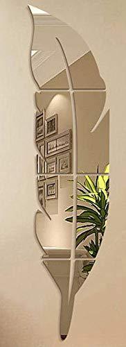 Pegatina Espejo de Pluma Adhesivo de Pared,Espejo Decorativo de hogar (Dormitorio Armario Puertas Medidas 120 x 30cm